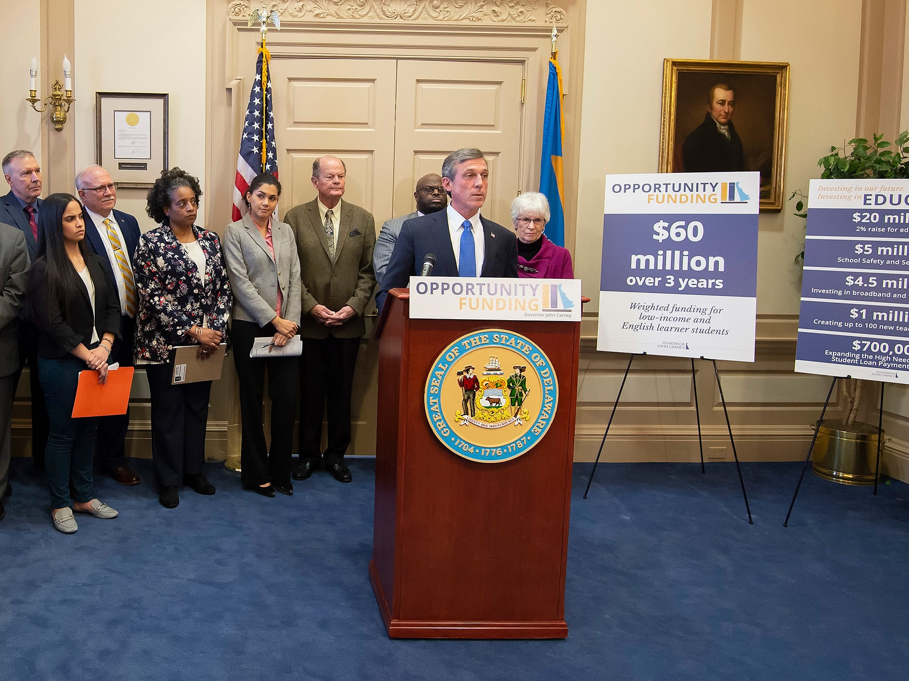 Governor John Carney announces an education initiative to provide support for English learners and low-income students statewide.
