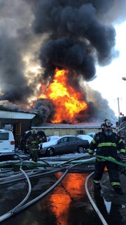 Multiple fire companies battled a blaze at the Stanton Industrial Park Tuesday morning.