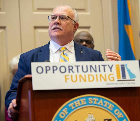 Superintendent of Caesar Rodney School District, Dr. Kevin Fitzgerald, gives his remarks during a media event at Governor John Carney's office in Dover to announce a education initiative to provide support for English learners and low-income students statewide.