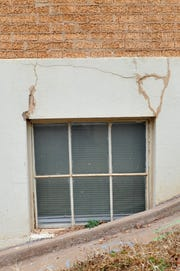 Cracks around a window at the Wichita Falls Memorial Auditorium show the need for repair as the city looks all aspects of what will need to be done to continue using the building for the next several years.