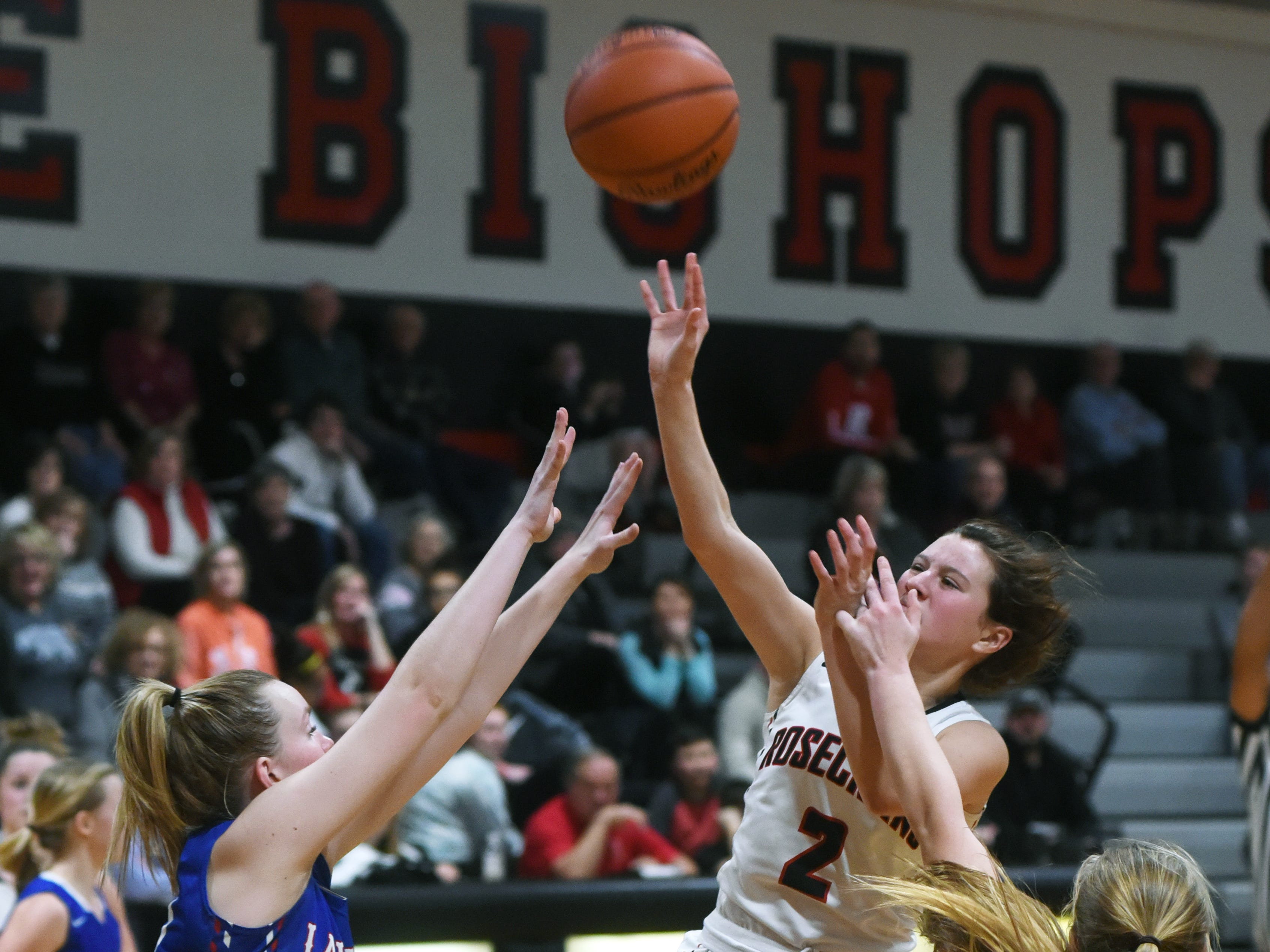 Kailey Zemba, of Rosecrans, shoots in the lane against Lakewood on Monday night at Rogge Gymnasium.