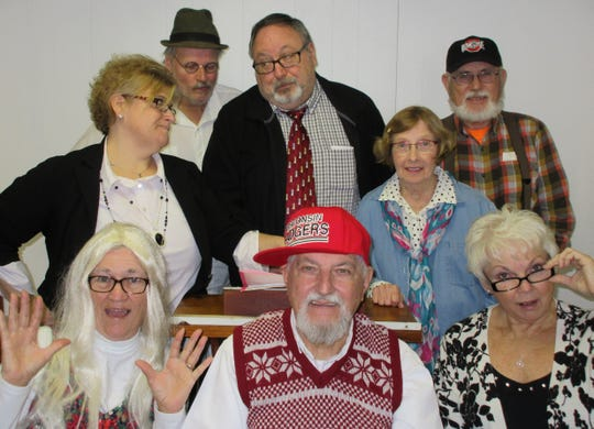 """The cast of """"Retired-Rehired"""" includes, front row, Jane Beattie, Robert Heinlein, Kay Toth, back row, Mary Ann Headley, Rob Dishon, Roger Dusenberry, Barb Shiplett and Dave Beattie."""