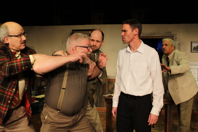 """Cast members Dave Wickham, Bruce Revennaugh, Albert Brown, Jared Gantzer and Steve Stewart rehearse a scene for the upcoming production of """"12 Angry Men."""" The opening performance will take place at 8  p.m. Jan. 17, at the Renner Theatre."""