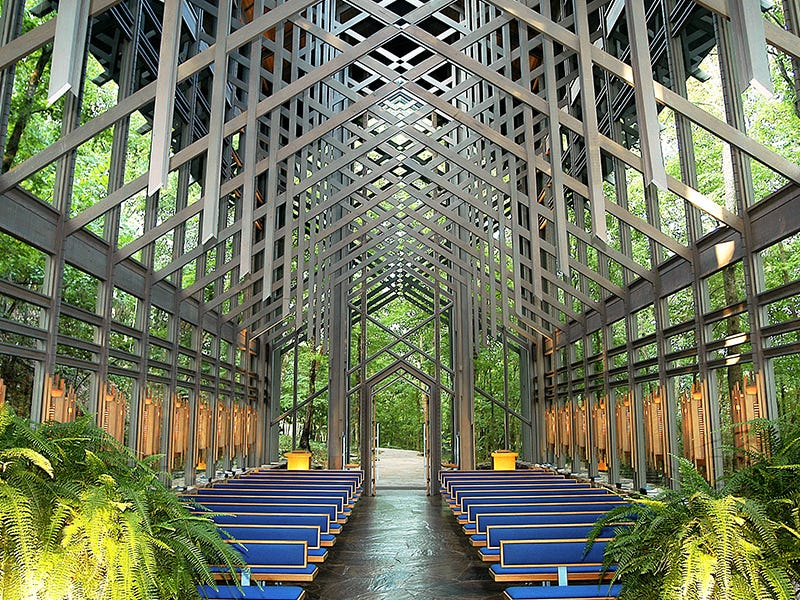 Thorncrown Chapel, Eureka Springs, Arkansas: In the woods outside Eureka Springs, Arkansas, this chapel stands 48 feet tall, with 425 windows, more than 6,000 square feet of glass, and 100 tons of native stone and colored flagstone. It was designed by Frank Lloyd Wright apprentice E. Fay Jones.
