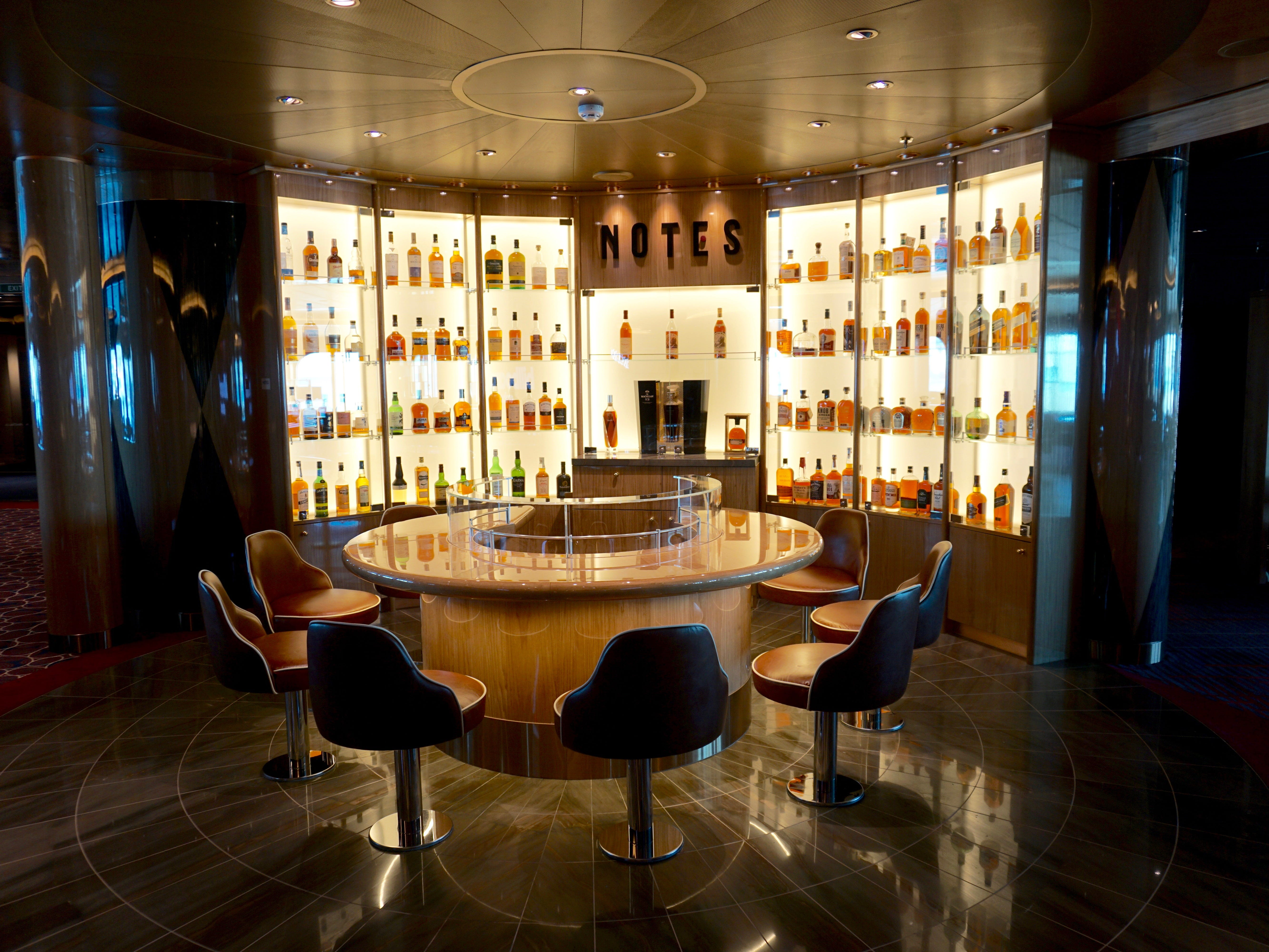 Situated between the Rolling Stone Rock Room and Billboard Onboard, Notes is a dedicated whiskey bar.