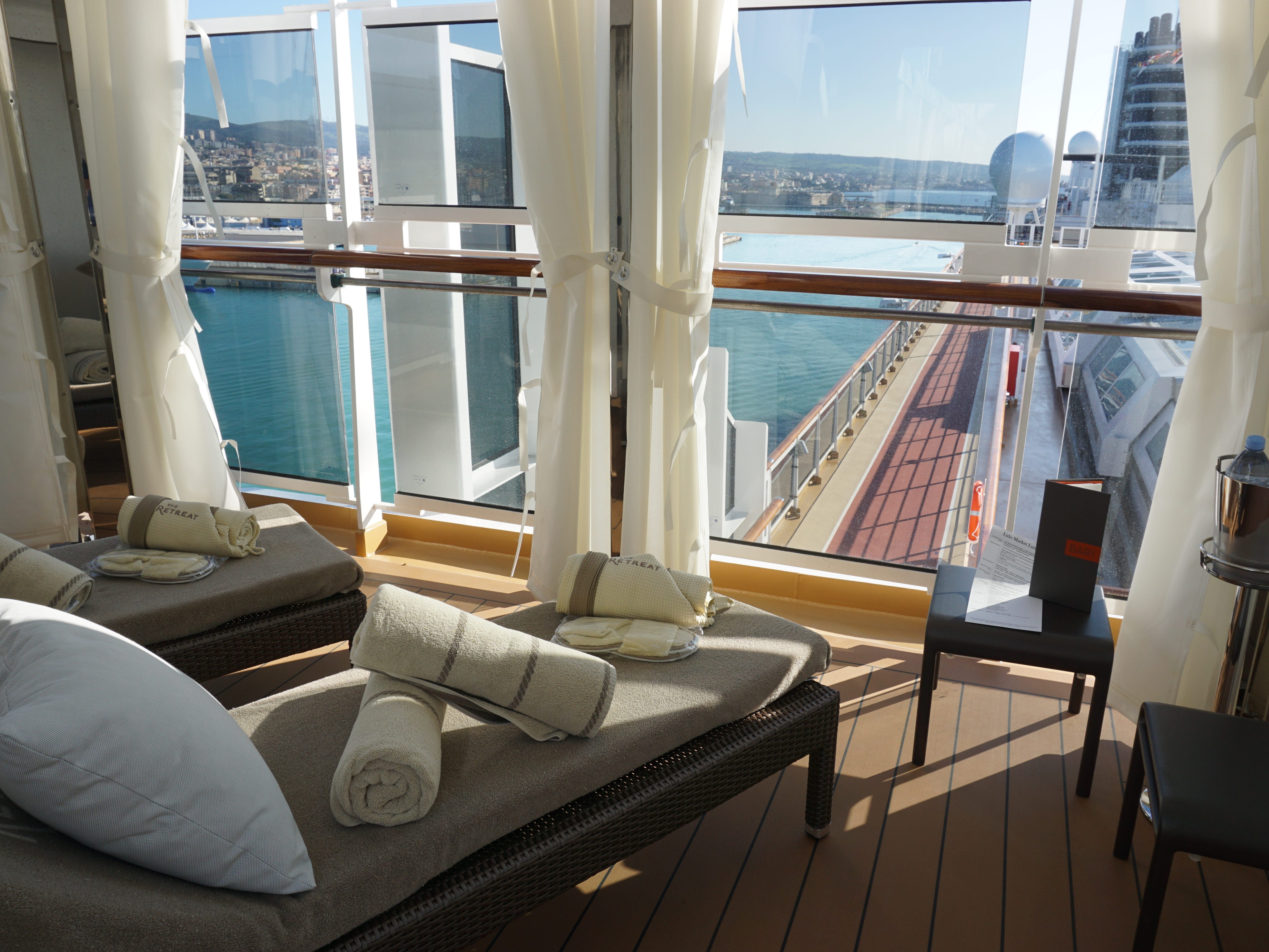 This is one of the larger corner cabanas offering views over the sea and the midships pool.