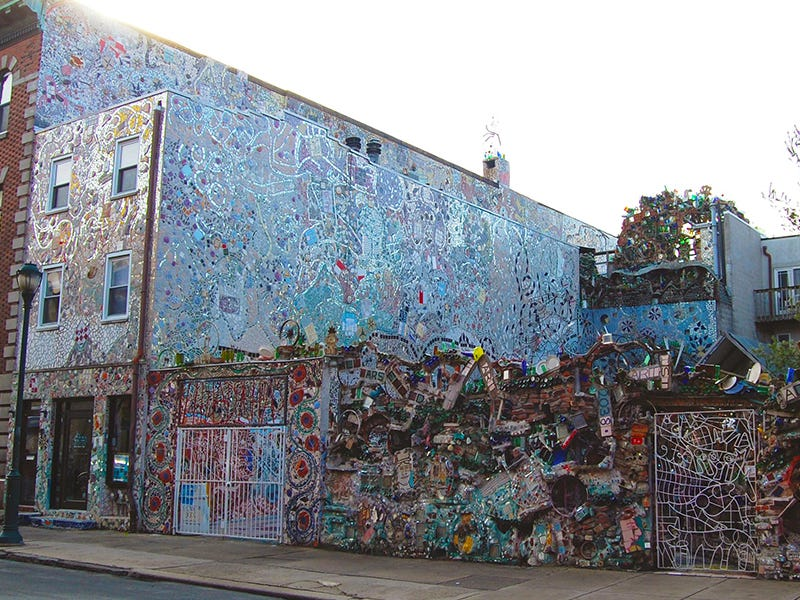 Philadelphia's Magic Gardens: Philadelphia's Magic Gardens is the brainchild of Isaiah Zagar, who taught himself to mosaic after a nervous breakdown. The site was saved from demolition by the local community and is now a fixture of the city's South Street neighborhood.