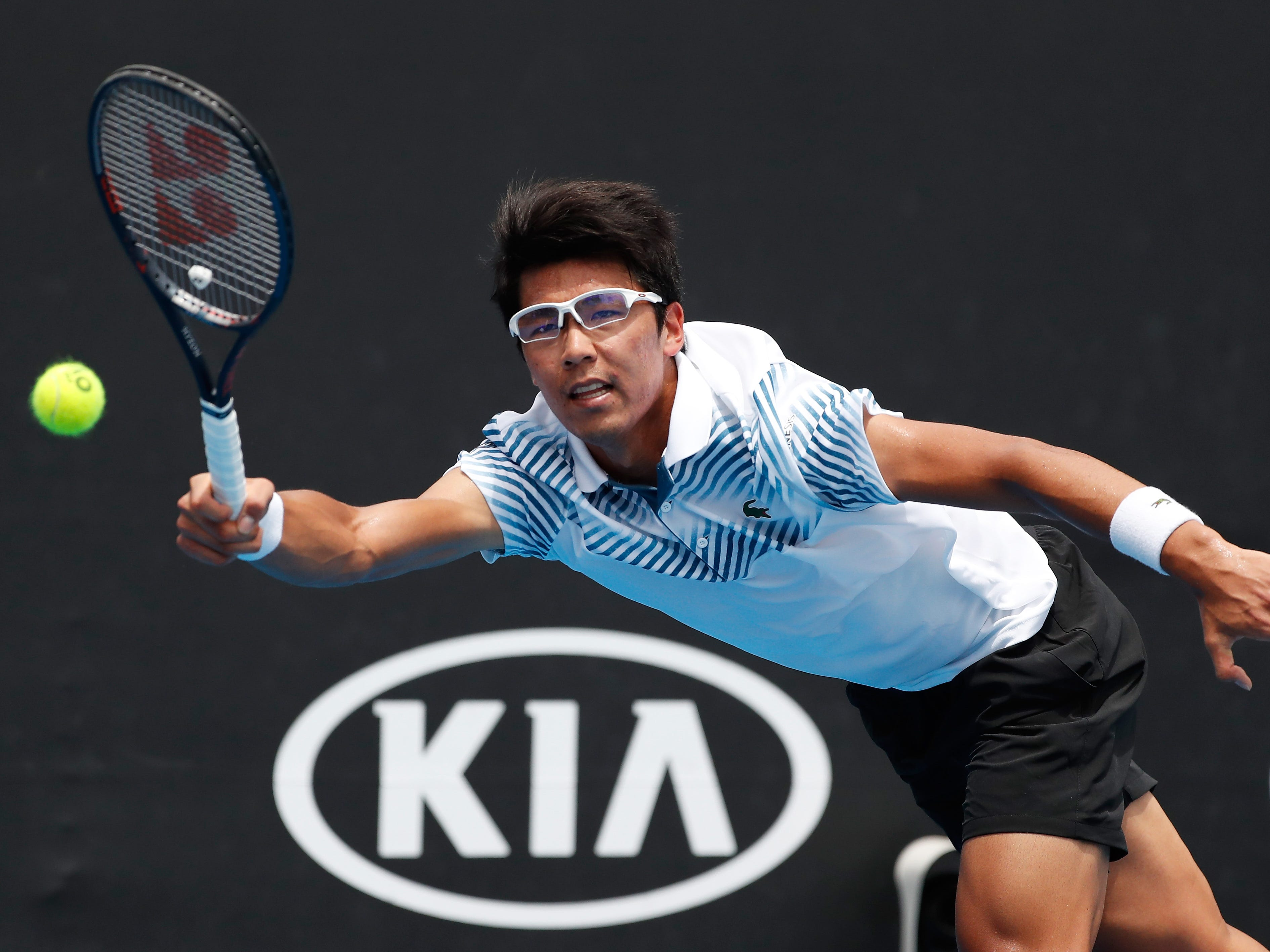 Hyeon Chung of Korea plays a forehand in his first round match against Bradley Klahn of the United States during day two of the 2019 Australian Open on Jan. 15.