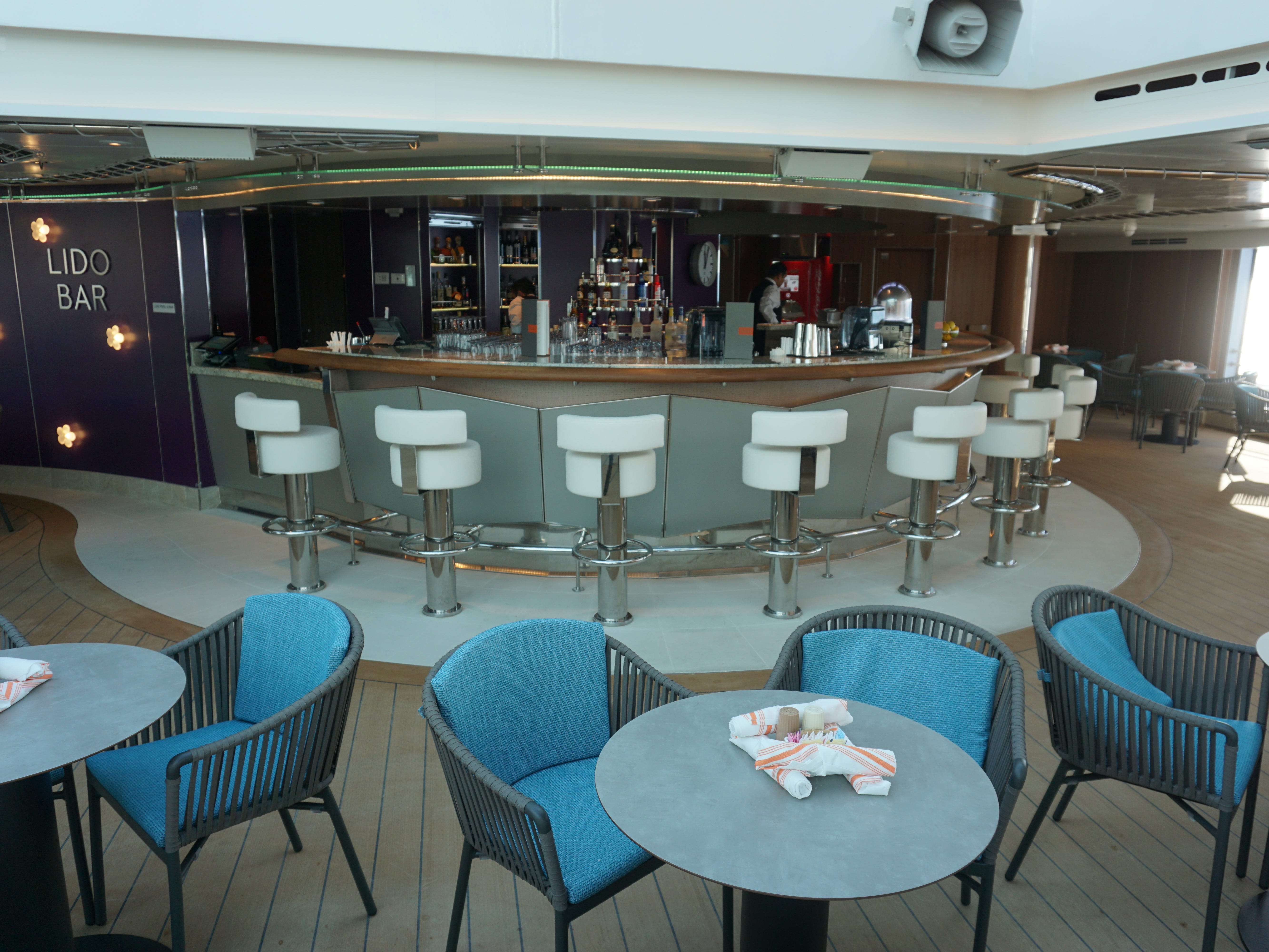 The Lido Bar is on the aft/port side of the Lido Pool.