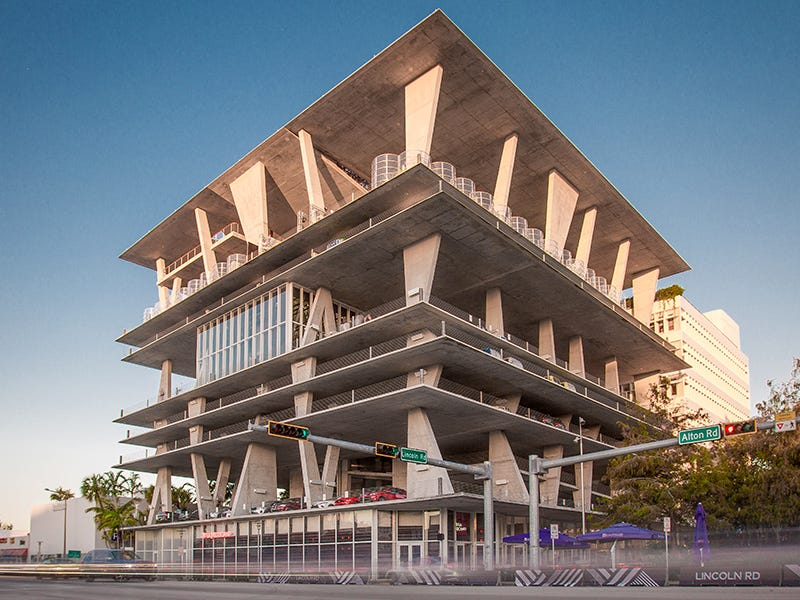 1111 Lincoln Road Parking Garage, Miami Beach, Florida: This open-air parking garage designed by Herzog & de Meuron is also a place to shop, work, live, host a wedding, stage a fashion show, take a yoga class or catch 360-degree views of the city and ocean.