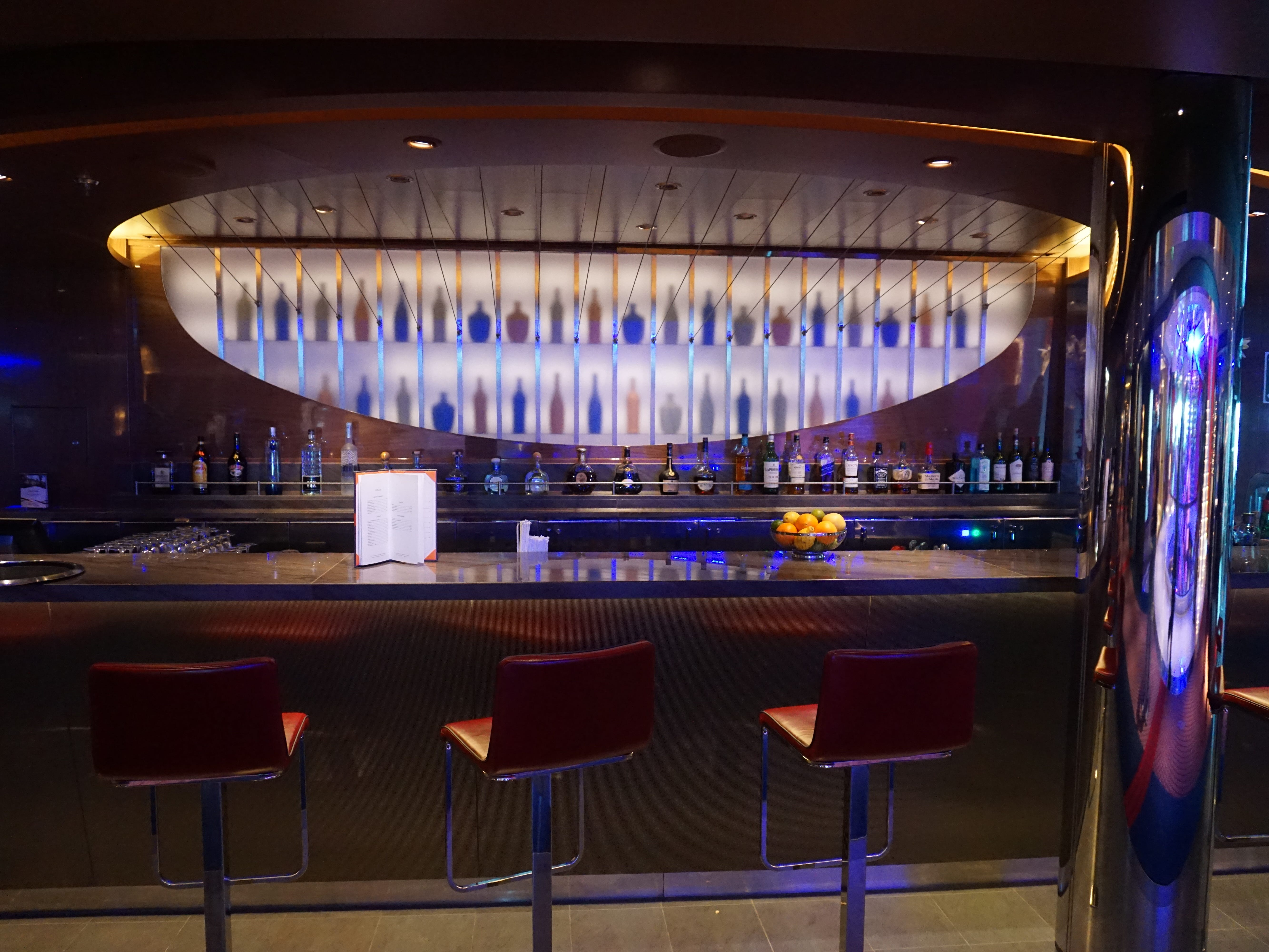 Facing the Atrium from the starboard side of Deck 2, the 63-seat Ocean Bar has a backdrop that has been inspired by a string instrument.