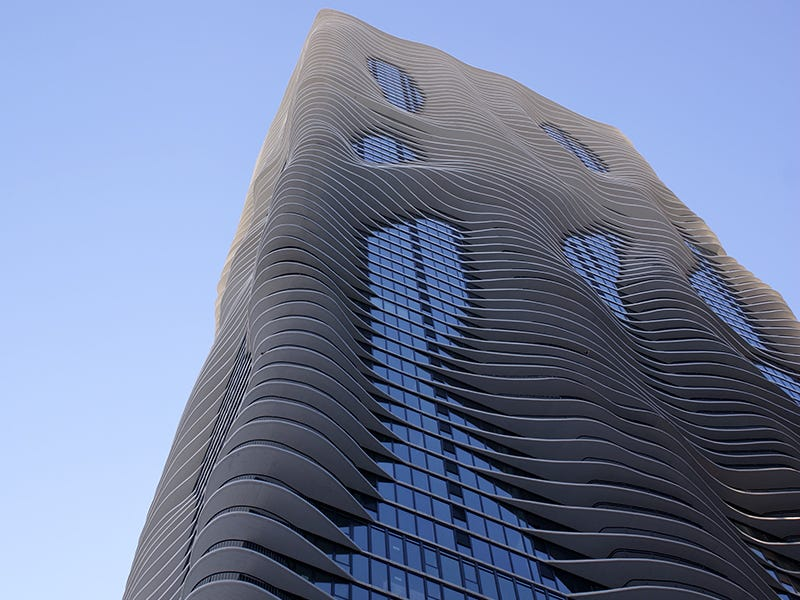 Aqua Tower, Chicago: The skyscraper proves that tall buildings can be functional without sacrificing good looks. The wave-like exterior symbolizes the natural elements of the Midwest and the balconies give residents views of Chicago landmarks.