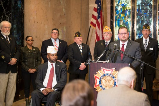 Members of major veterans organizations hold a press conference to push for the end to the government shutdown.