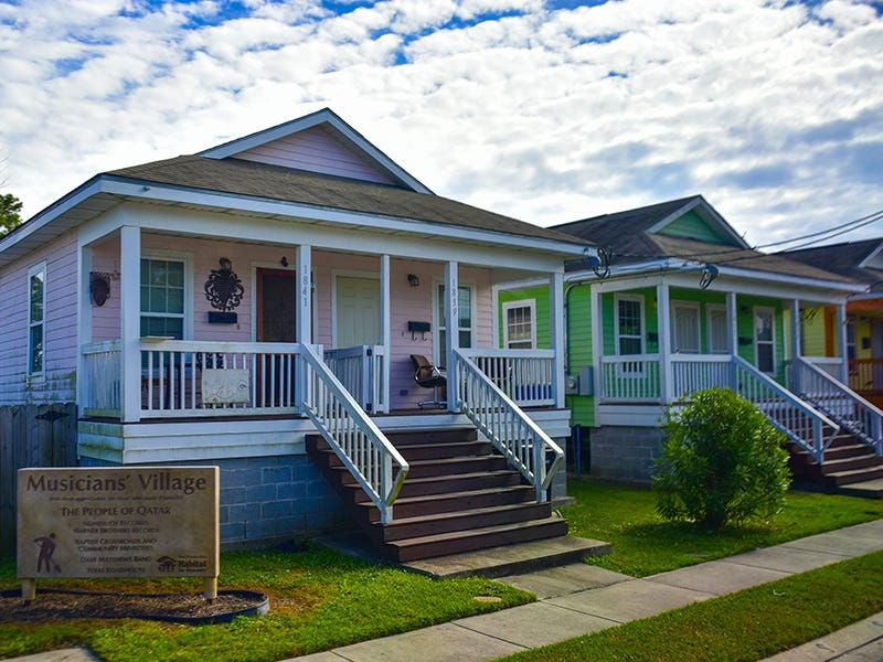Musicians' Village, New Orleans: New Orleans musicians Harry Connick Jr. and Branford Marsalis partnered with Habitat for Humanity to build a neighborhood in the Upper Ninth Ward for musicians who lost their homes to Hurricane Katrina, thereby preserving the city's musical heritage.