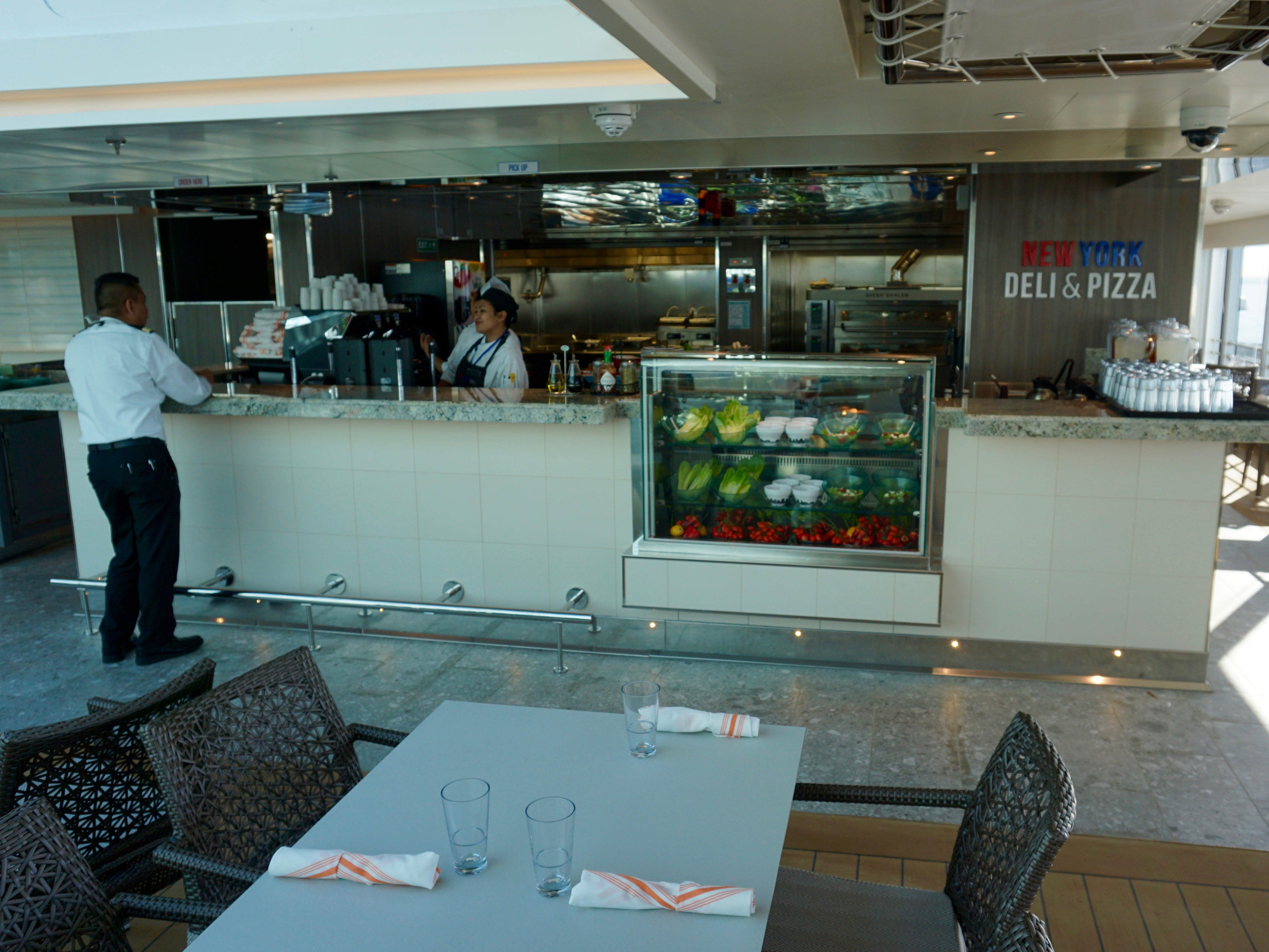 New York Deli and Pizza offers quick breakfast, lunch and dinner options on Deck 11, just aft of the Lido Pool.