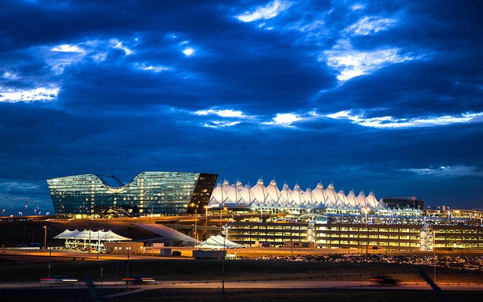 Denver International Airport: With distinctive tent-like objects that can be seen from miles away, Denver's Jeppesen Terminal engages with its natural surroundings unlike any other airport terminal around.