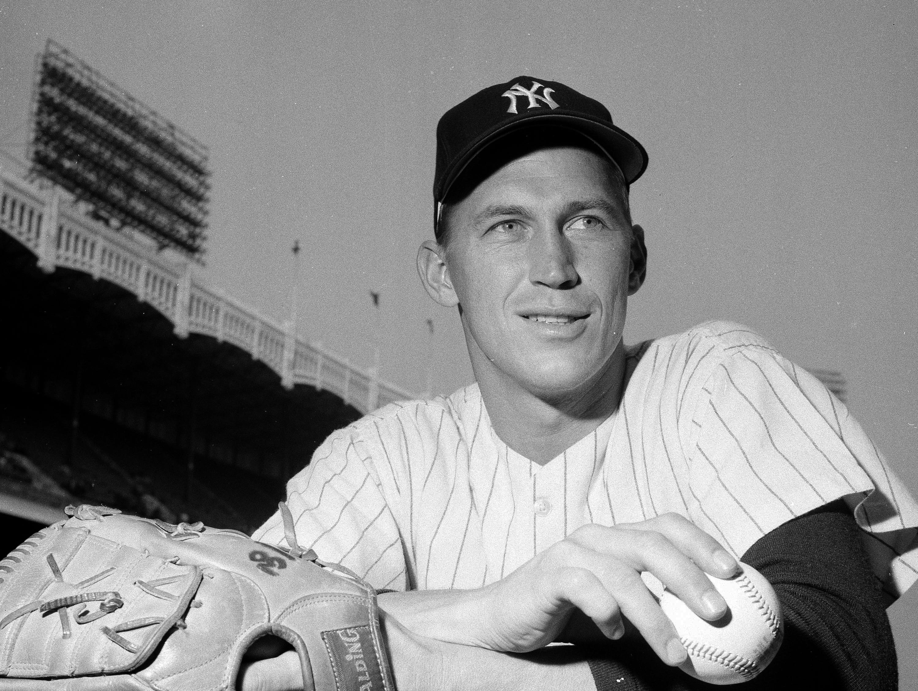 This is a 1967 file photo showing New York Yankees' Mel Stottlemyre. Stottlemyre, the former ace who later won five World Series rings as the longtime pitching coach for both the New York Yankees and Mets, has died. He was 77. The Yankees said Stottlemyre died Sunday, Jan.13, 2019. He had been living in the Seattle area and had multiple myeloma for nearly 20 years.