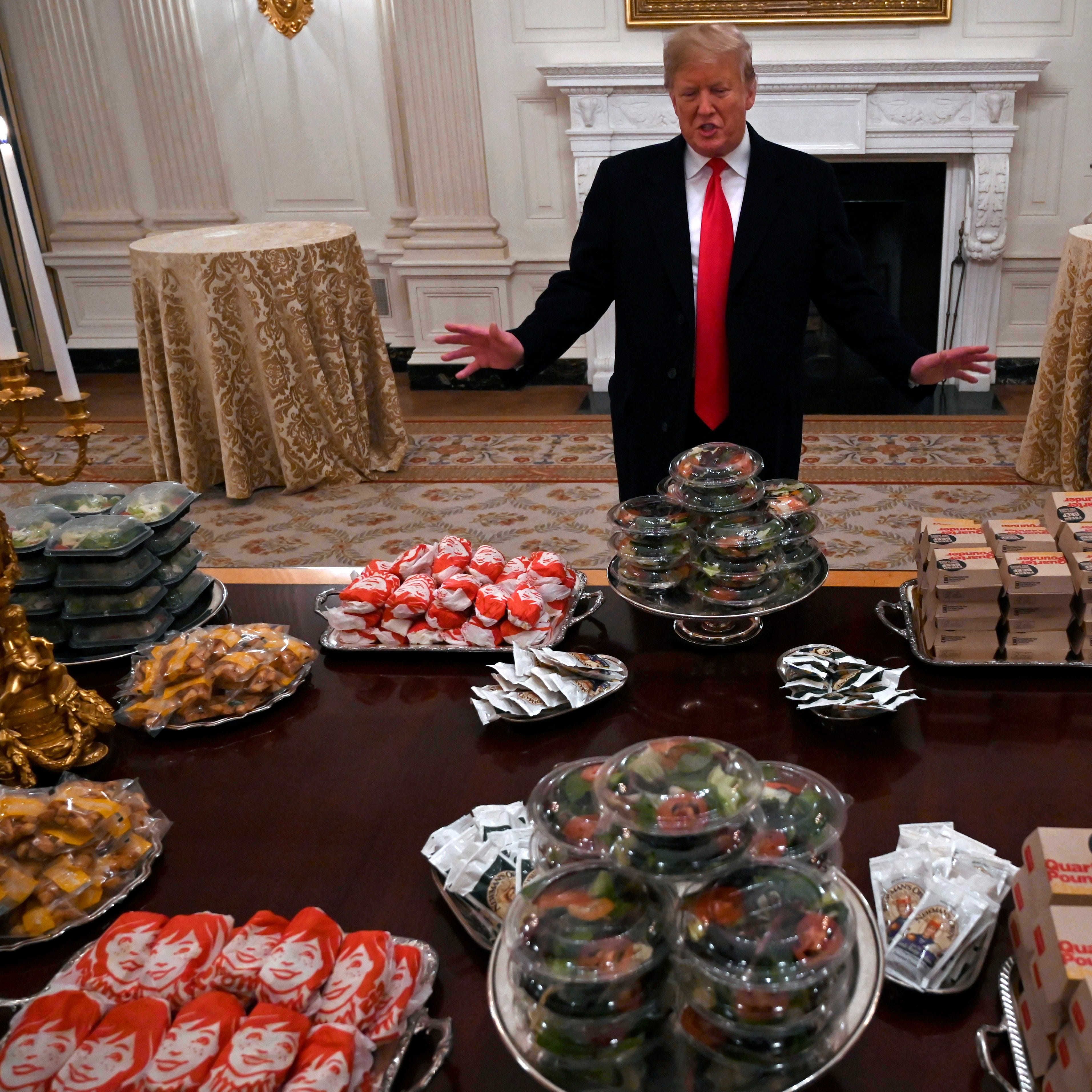 Clemson football team visits White House, greeted by President Donald Trump and fast food