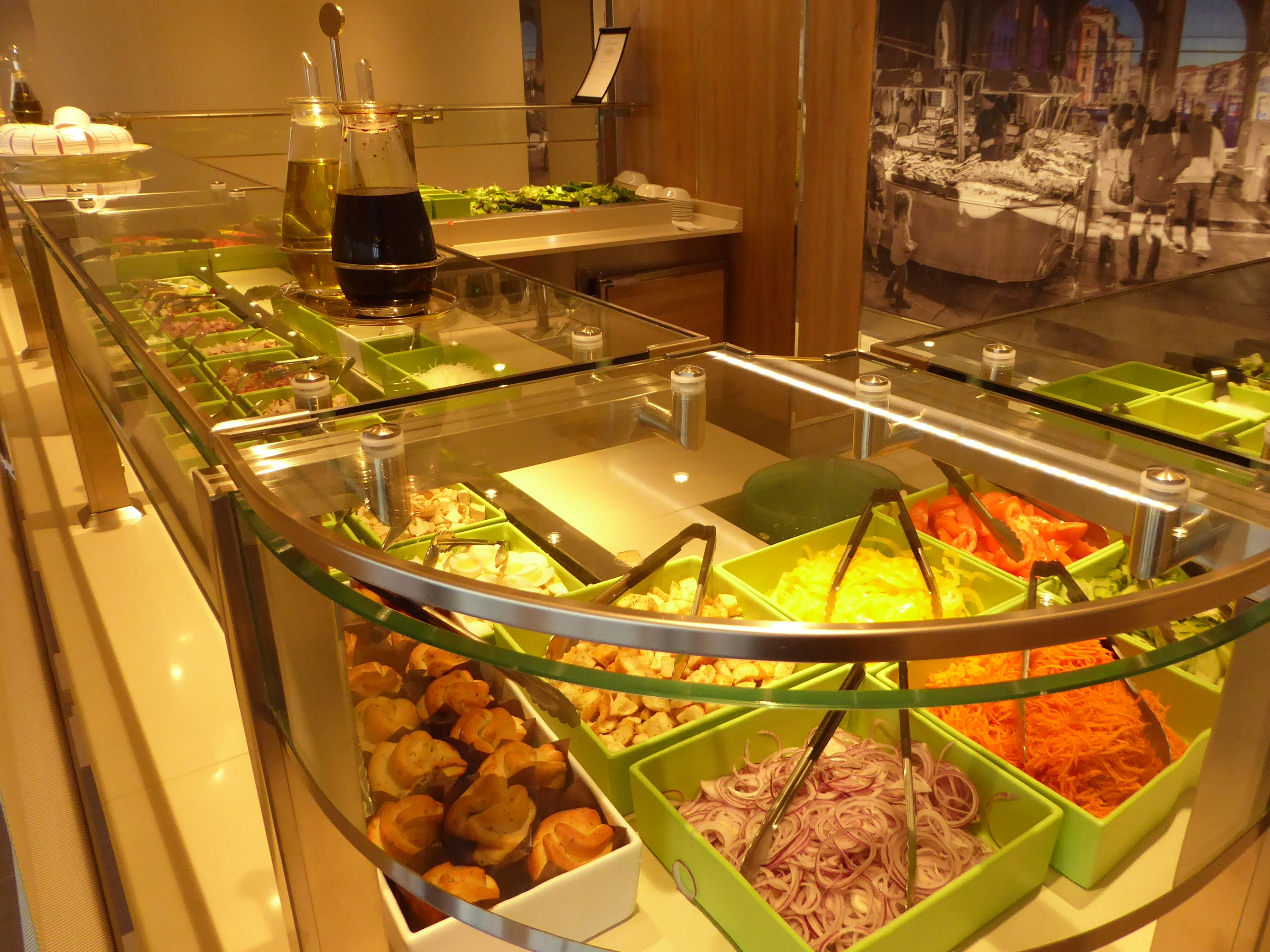 One of the best at sea, the Salad Bar section of the Lido Market has a wide choice of freshly prepared ingredients.