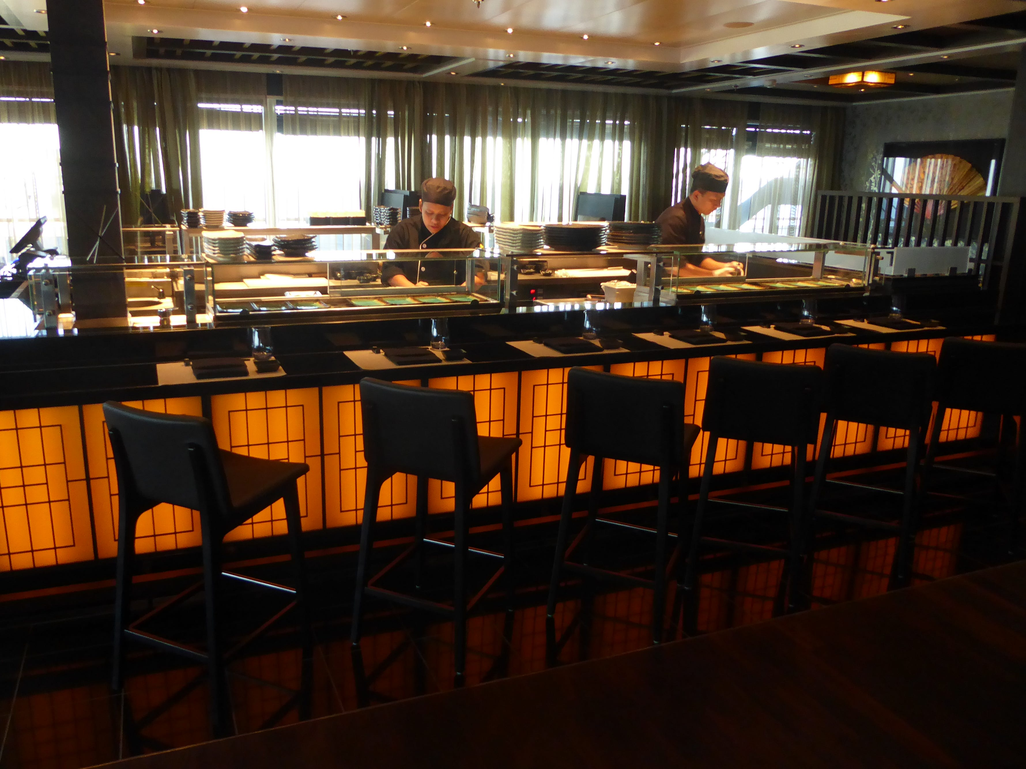 On the port side of Tamarind is a sushi bar with an a la carte menu.