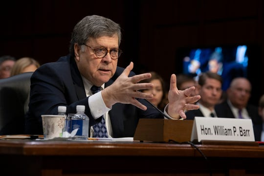 William Barr testifies before the Senate Judiciary Committee at hearing to confirm him as attorney general on Jan. 15, 2019.