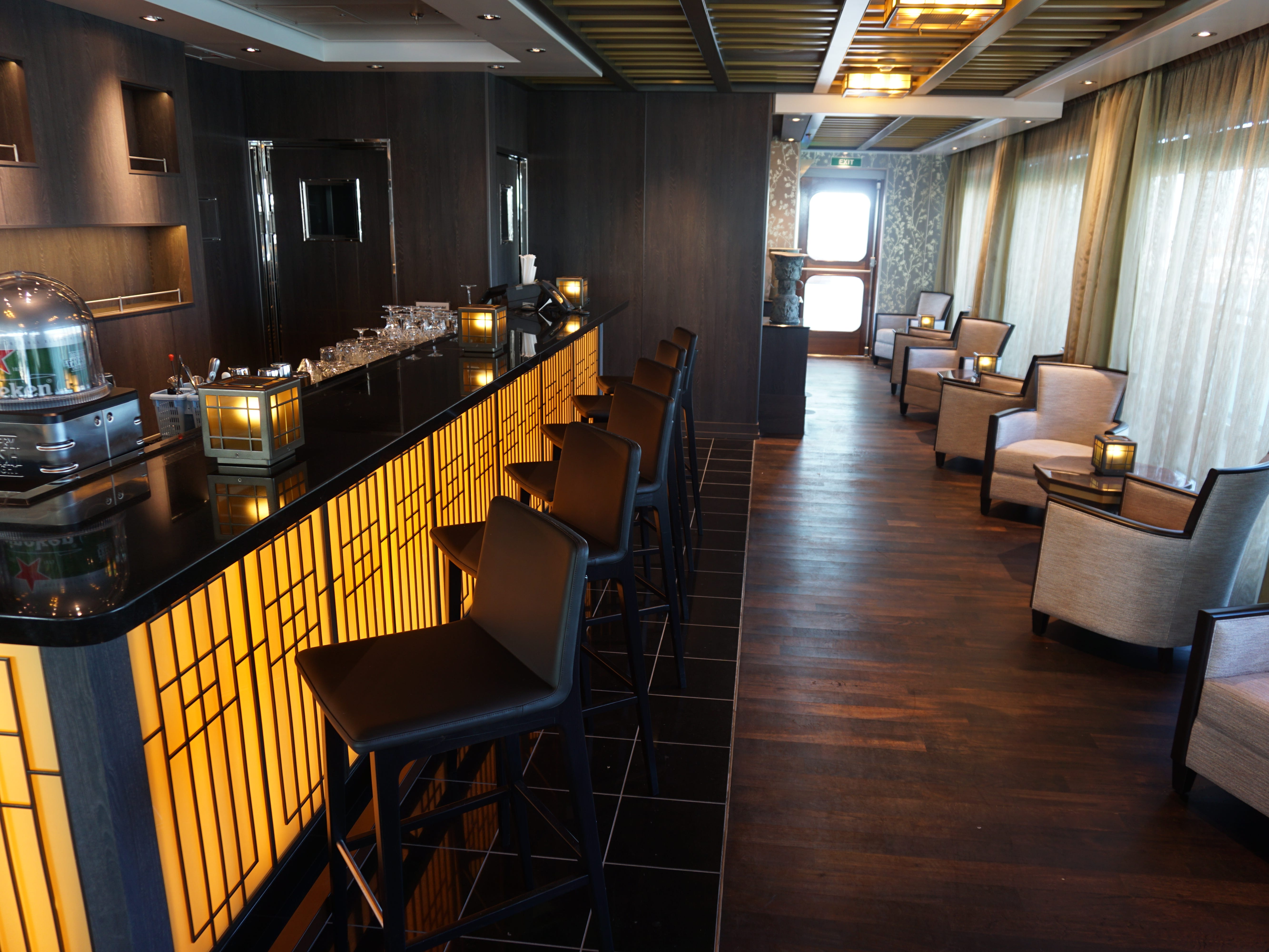 On the starboard side of Tamarind, the bar offers up a selection of beers and cocktails with an Asian flair.