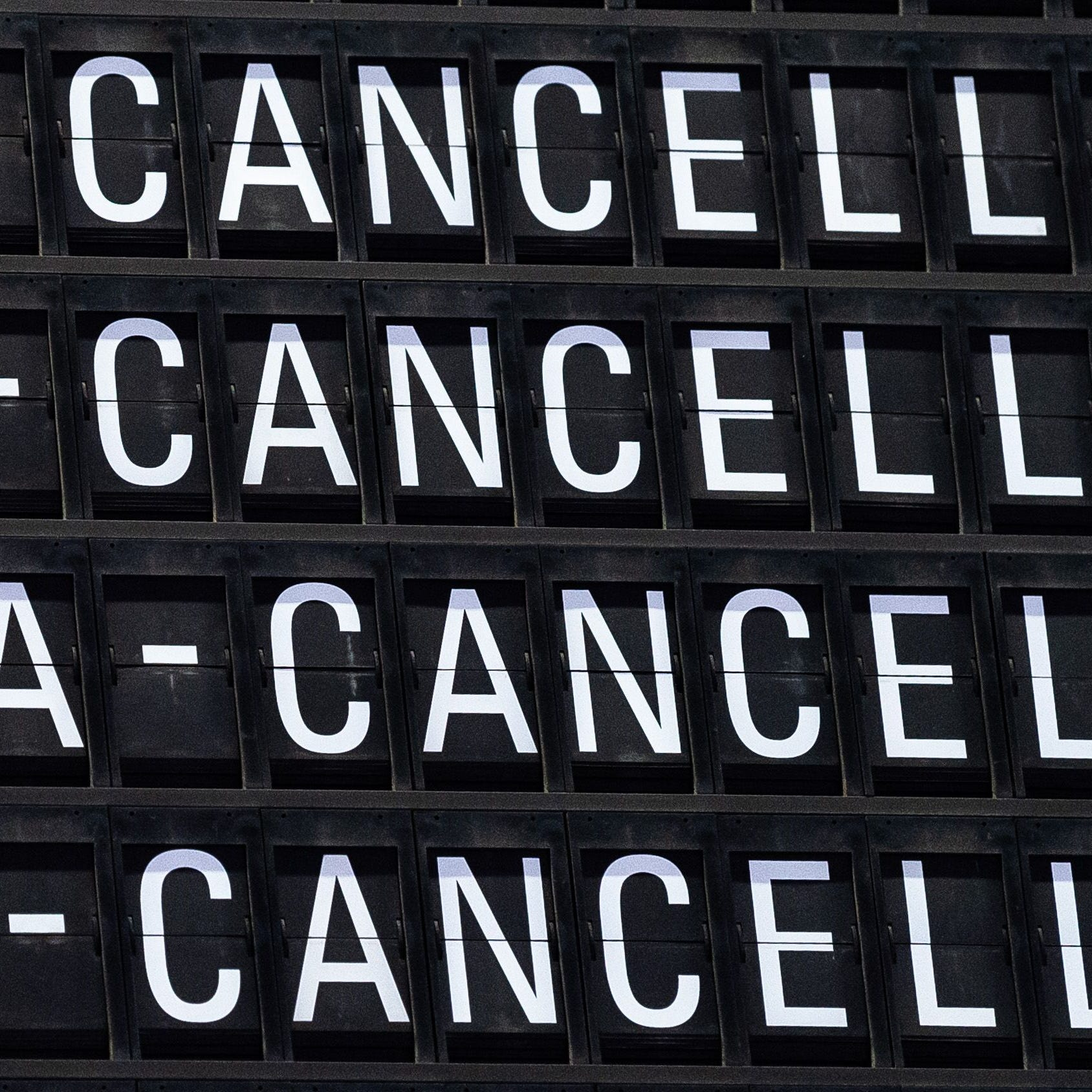 A board displays cancelled flights during a strike at the Frankfurt airport on Jan. 15, 2019.