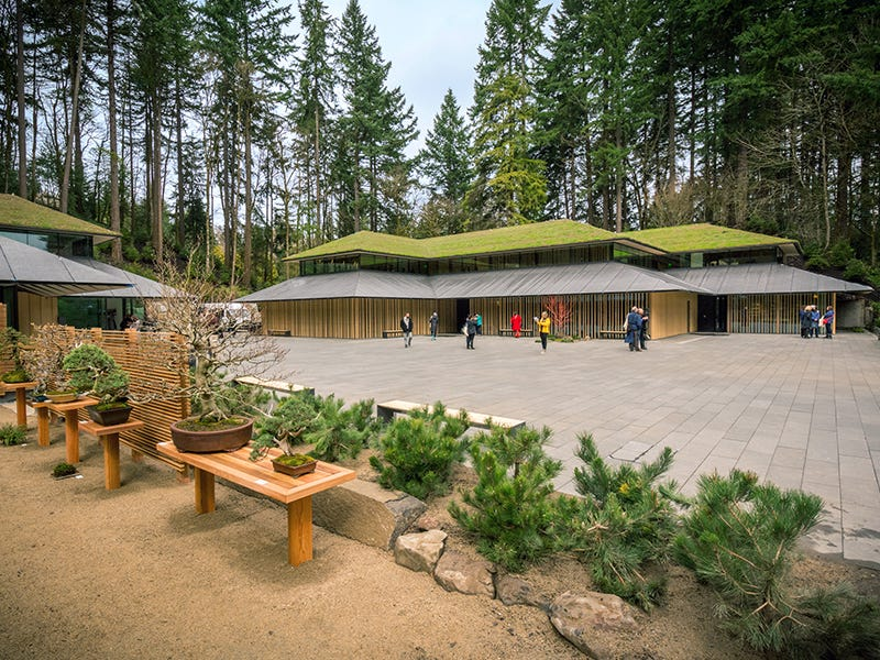 Portland Japanese Garden Expansion, Portland, Oregon: The Portland Japanese Garden opened in 1963. In 2017 the site was significantly expanded with a new visitor center, hillside garden, bonsai terrace and tea flower garden, all of which provide an immersive experience.