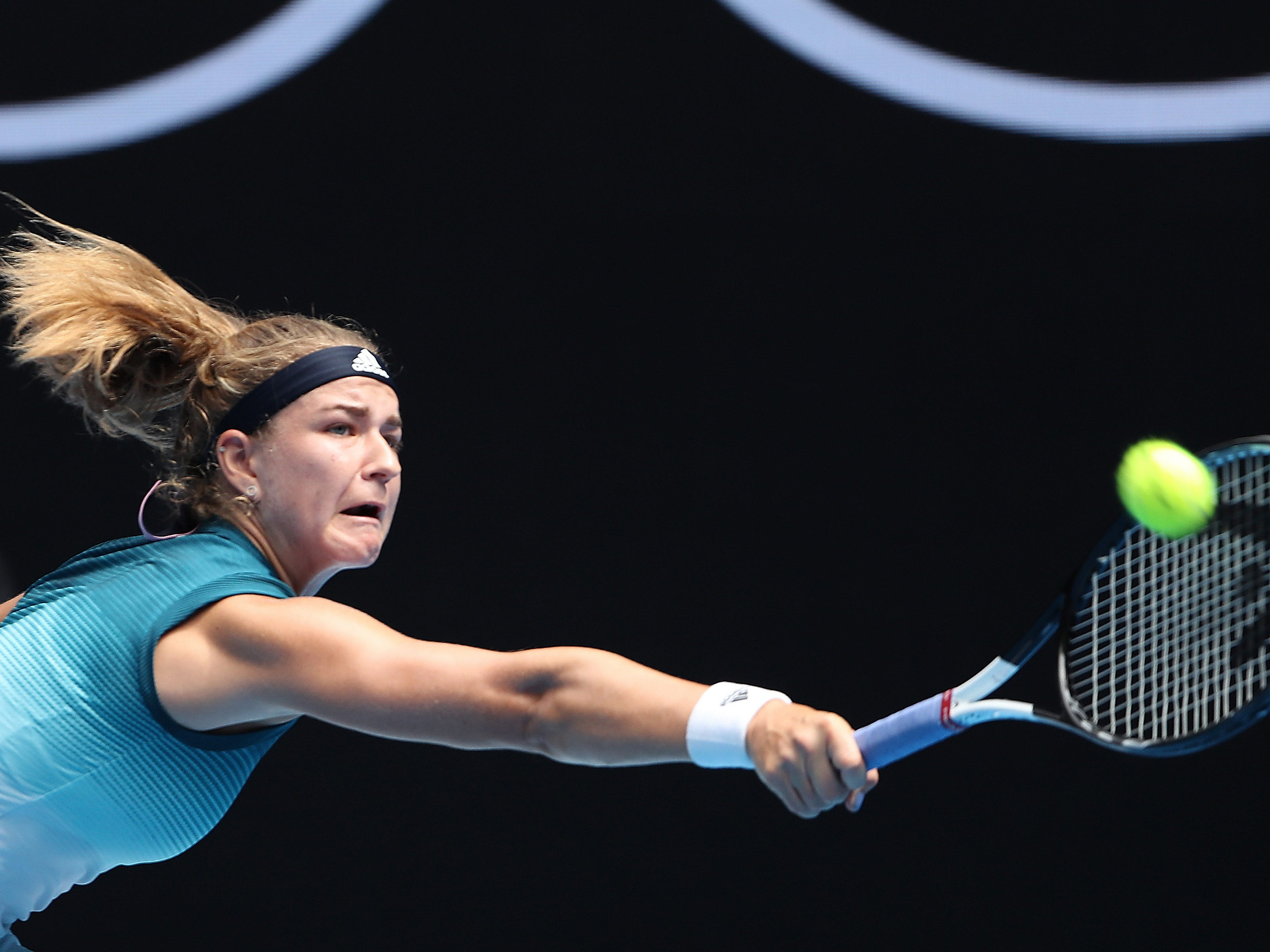 Karolina Muchova of the Czech Republic in action against Karolina Pliskova of the Czech Republic during their women's singles match at the Australian Open on Jan. 15.