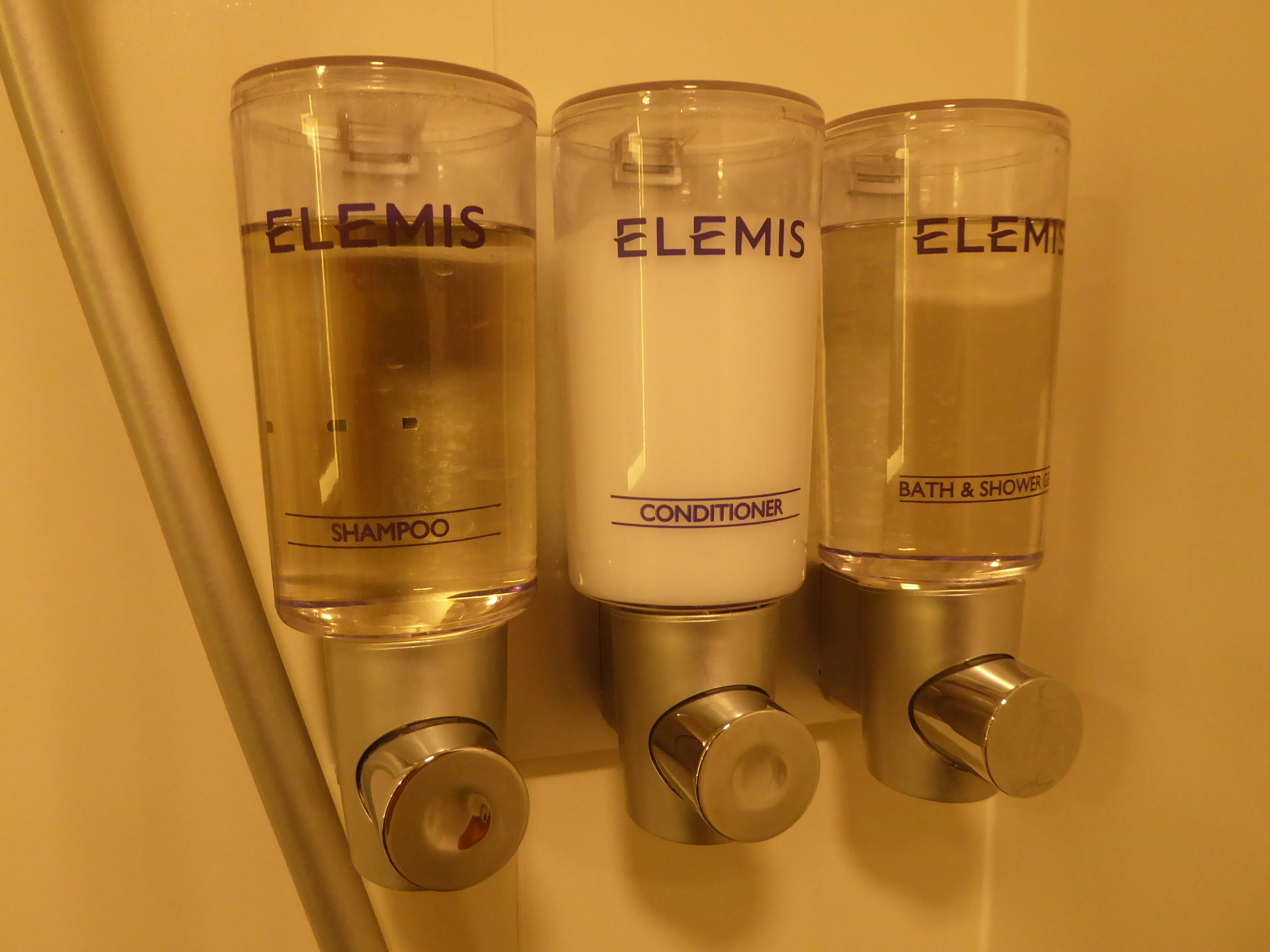 In Verandah, Ocean View and Inside cabins, there are environmentally friendly dispensers with Elemis brand shampoo, conditioner and shower gel.