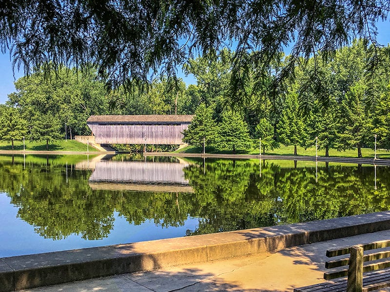 Mill Race Park, Columbus, Indiana: It's hard to believe the site where Mill Race Park sits used to be called Death Valley. The 85-acre park offers something for everyone, including fishing lakes, an observation tower and a covered bridge, along with an amphitheater that draws crowds in the thousands.
