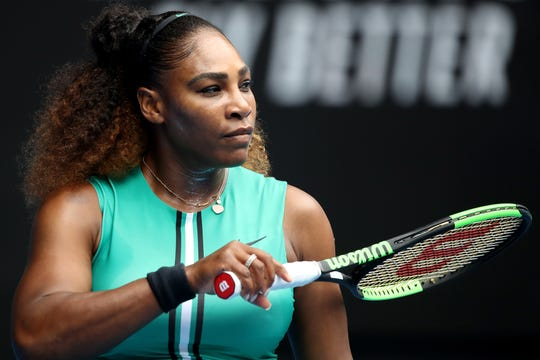 Serena Williams looks on in her first- round match against Tatjana Maria of Germany during day two of the 2019 Australian Open at Melbourne Park on Jan. 15.