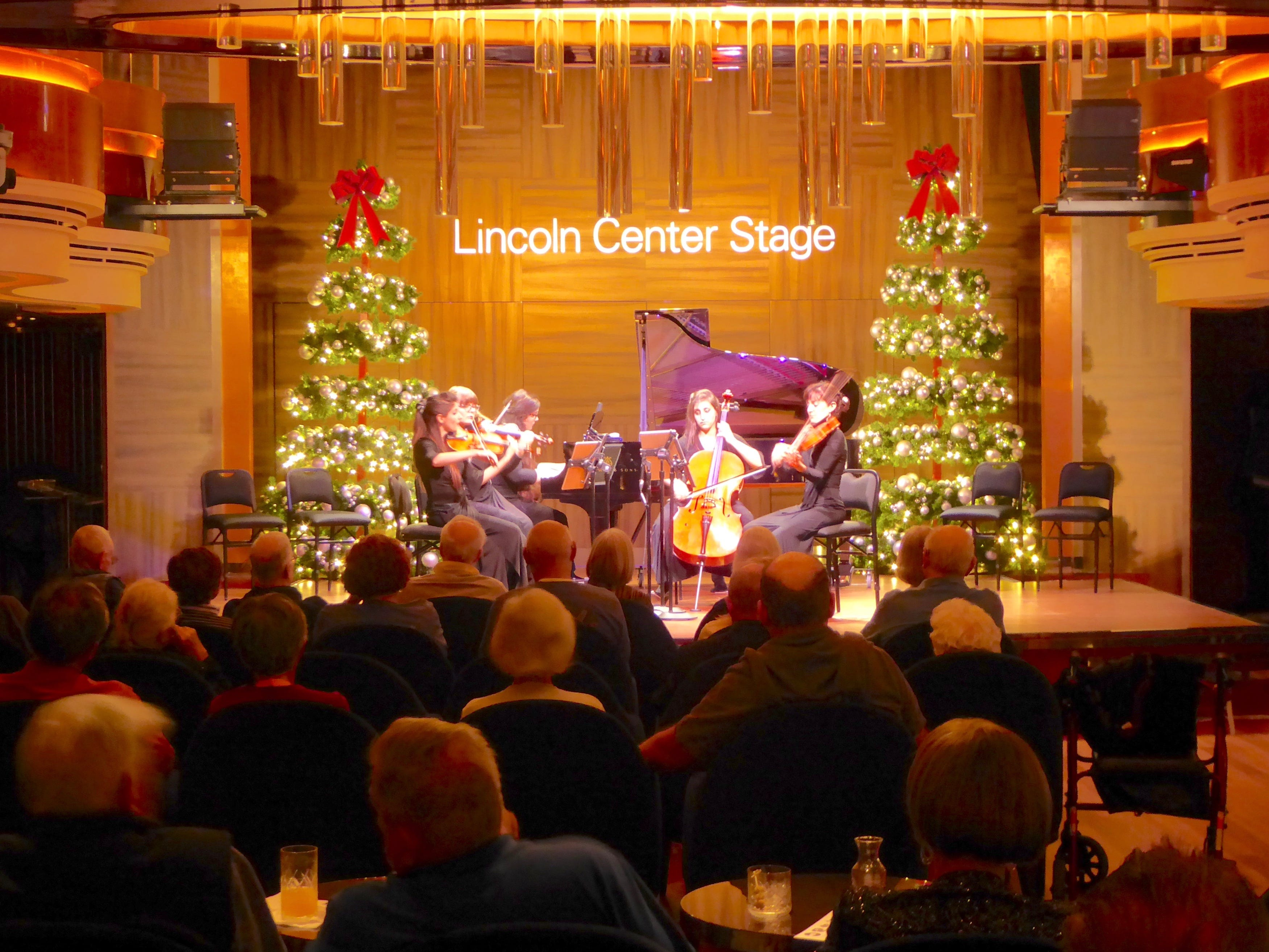 The lower level of Lincoln Center Stage/BB King's Blues Club is located on port Deck 2 at the aft end of the Music Walk. In the early evening, it is the setting for classical music performances.