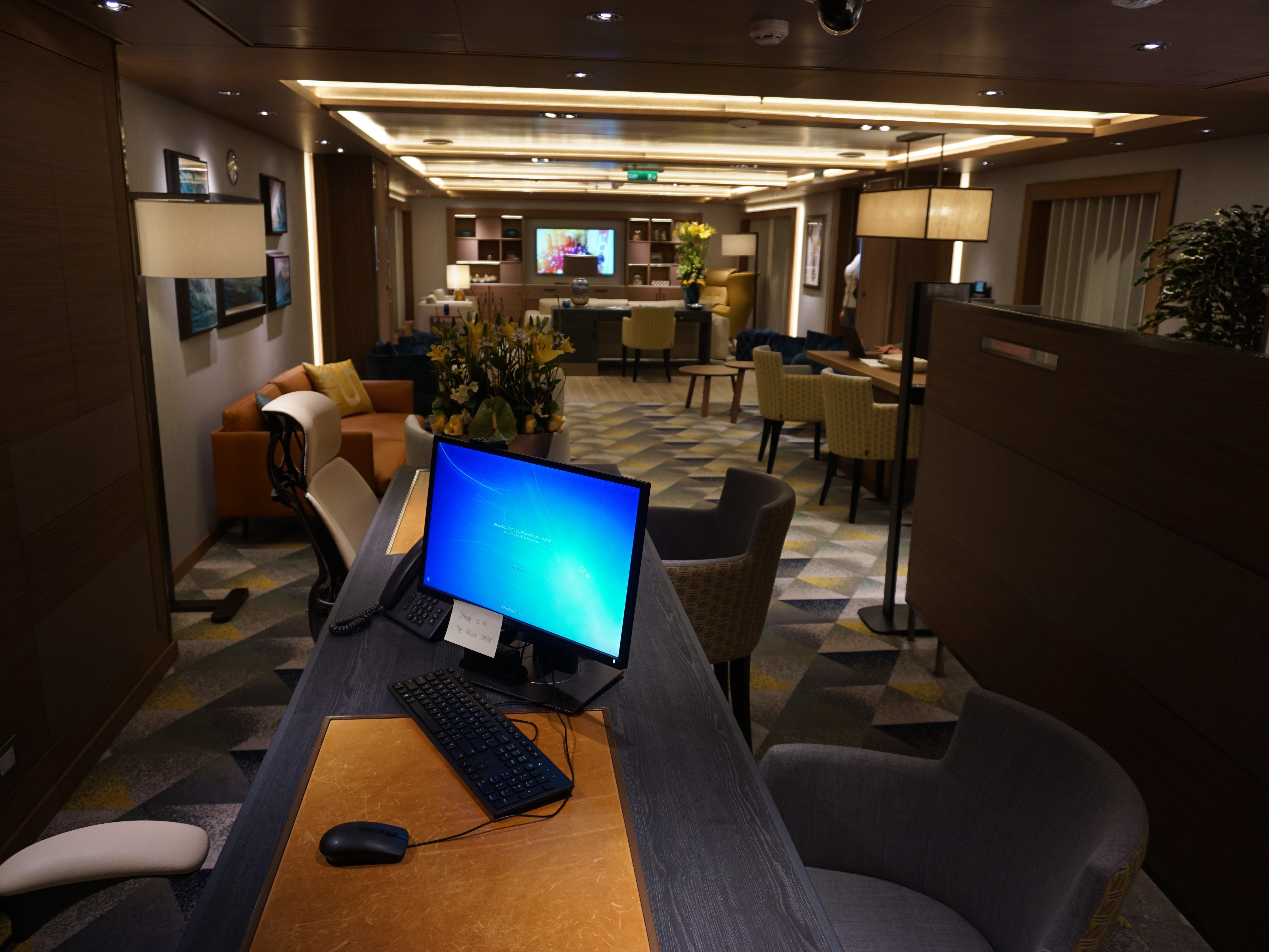 On Deck 7, adjacent to the suite accommodations, the Neptune Lounge is a concierge space for guests occupying the ship's top-tier Pinnacle and Neptune suites.
