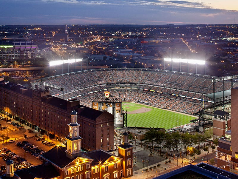 Oriole Park at Camden Yards, Baltimore: The home park for the Baltimore Orioles baseball team revolutionized stadium design, incorporating a rehabilitated railway warehouse in the process.
