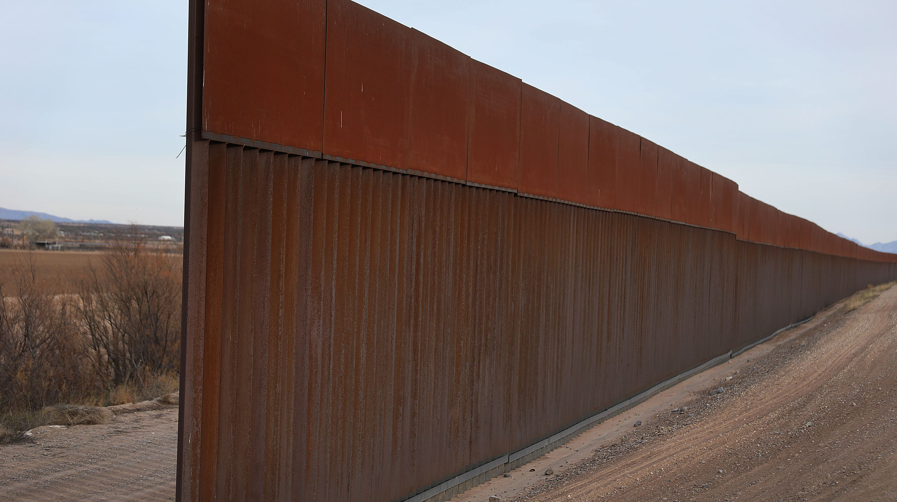 A part of the US-Mexico border wall, Fort...