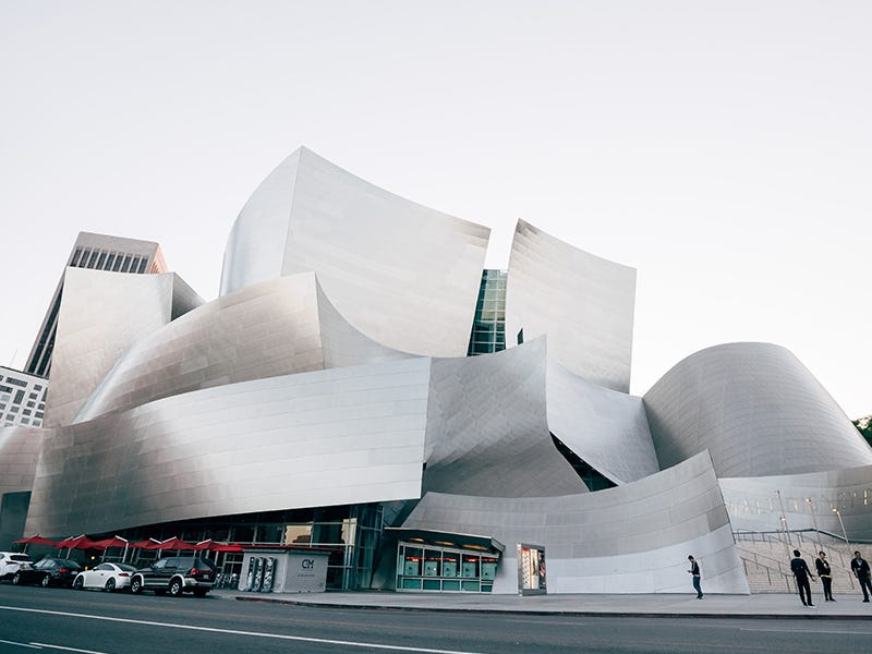Walt Disney Concert Hall, Los Angeles: Frank Gehry designed this landmark for the Los Angeles Philharmonic and the Los Angeles Master Chorale. The brushed stainless-steel facade dips and dives in all directions; inside, the walls are lined with Douglas fir, and the auditorium is considered an acoustical marvel.