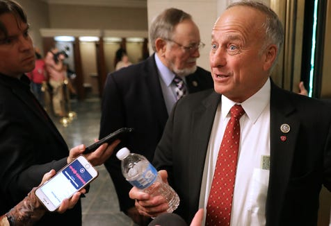 Rep. Steve King, R-Iowa, talks to reporters following leadership elections in the Longworth House Office Building on Capitol Hill Nov. 14, 2018 in Washington.