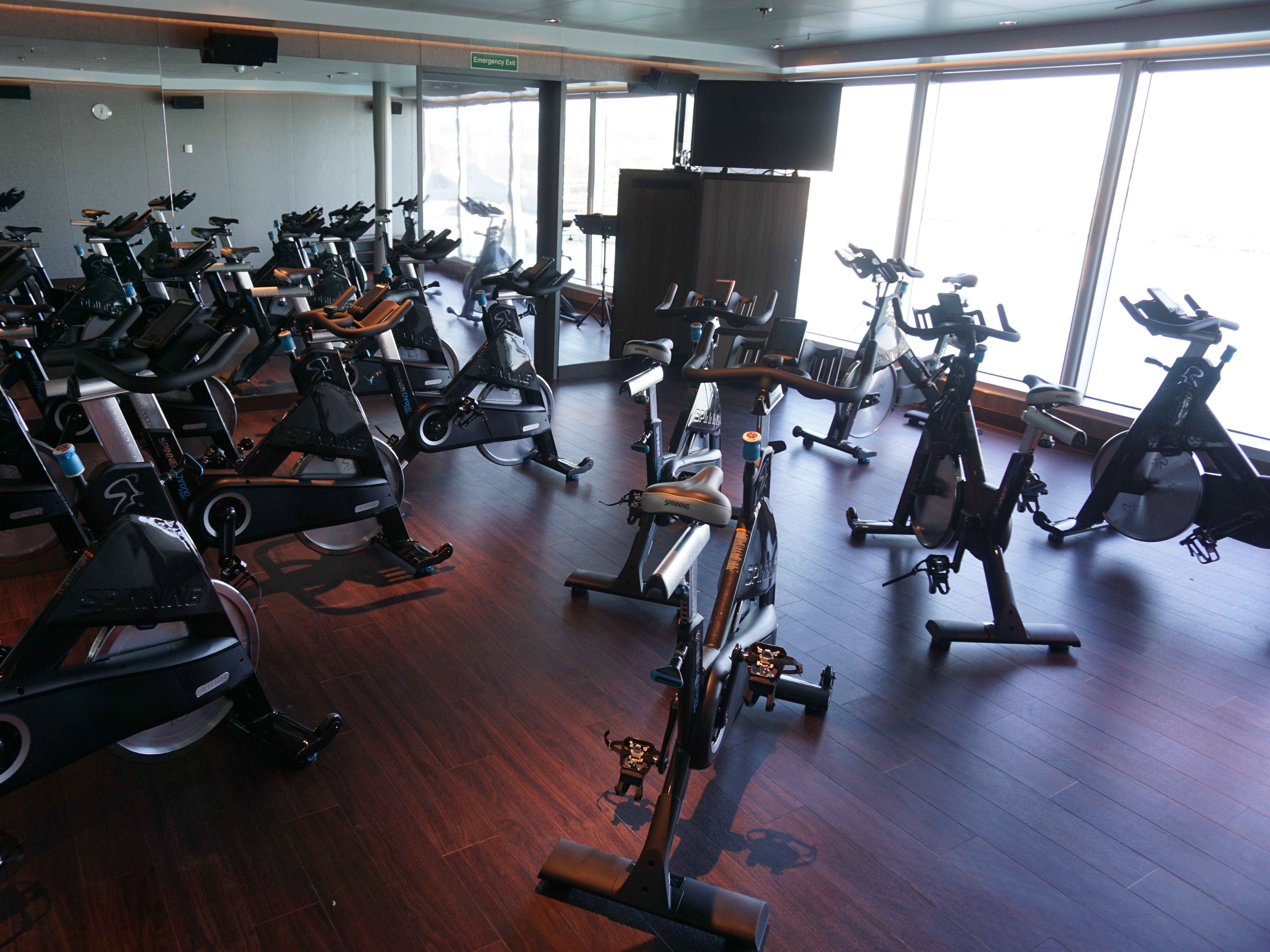 In the forward portion of the Greenhouse Spa, there is a large gym and exercise area as well as a dedicated spinning room.