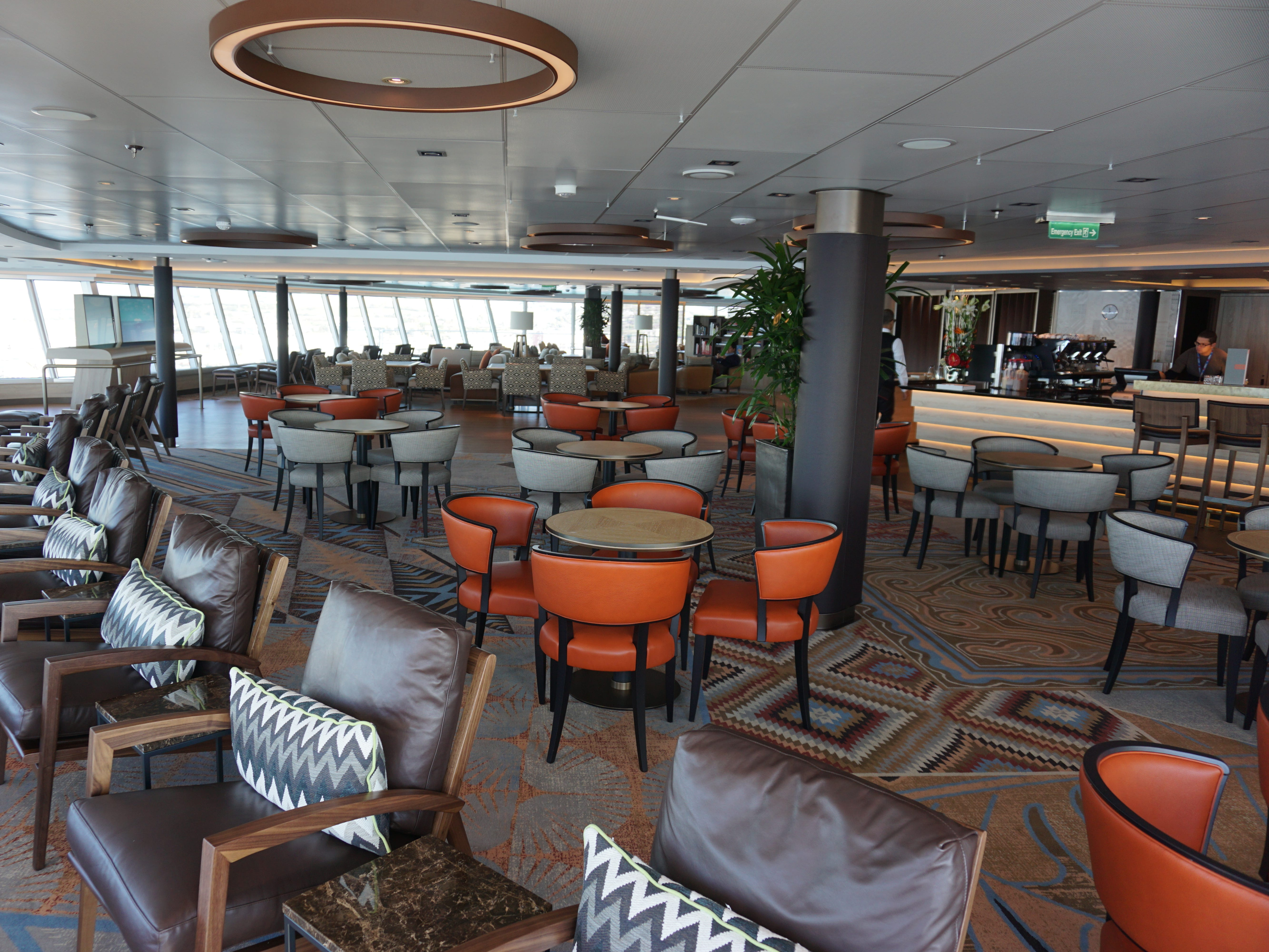 The Nieuw Statendam's loftiest perch is the 269-seat Crow's Nest/Explorations Central and Cafe situated at the forward end of Deck 12, offering drinks and specialty coffees for purchase, along with views from an 11-story vantage.