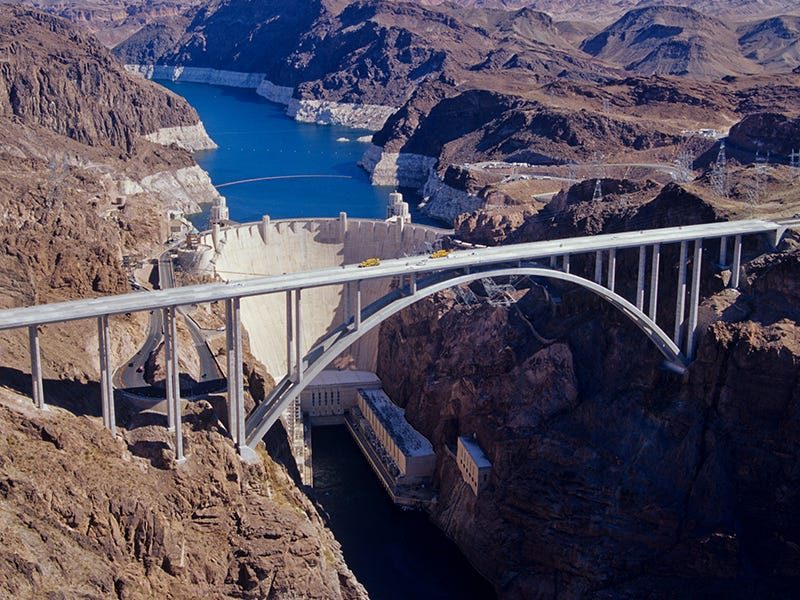 Mike O'Callaghan-Pat Tillman Memorial Bridge, Nevada/Arizona: The widest concrete arch in the Western Hemisphere belongs to this concrete bridge overlooking the Hoover Dam, built to ease car traffic over the dam.