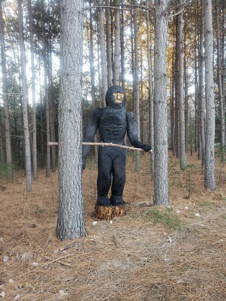 Bigfoot found? Nah, just a statue — with glowing red eyes in North Carolina