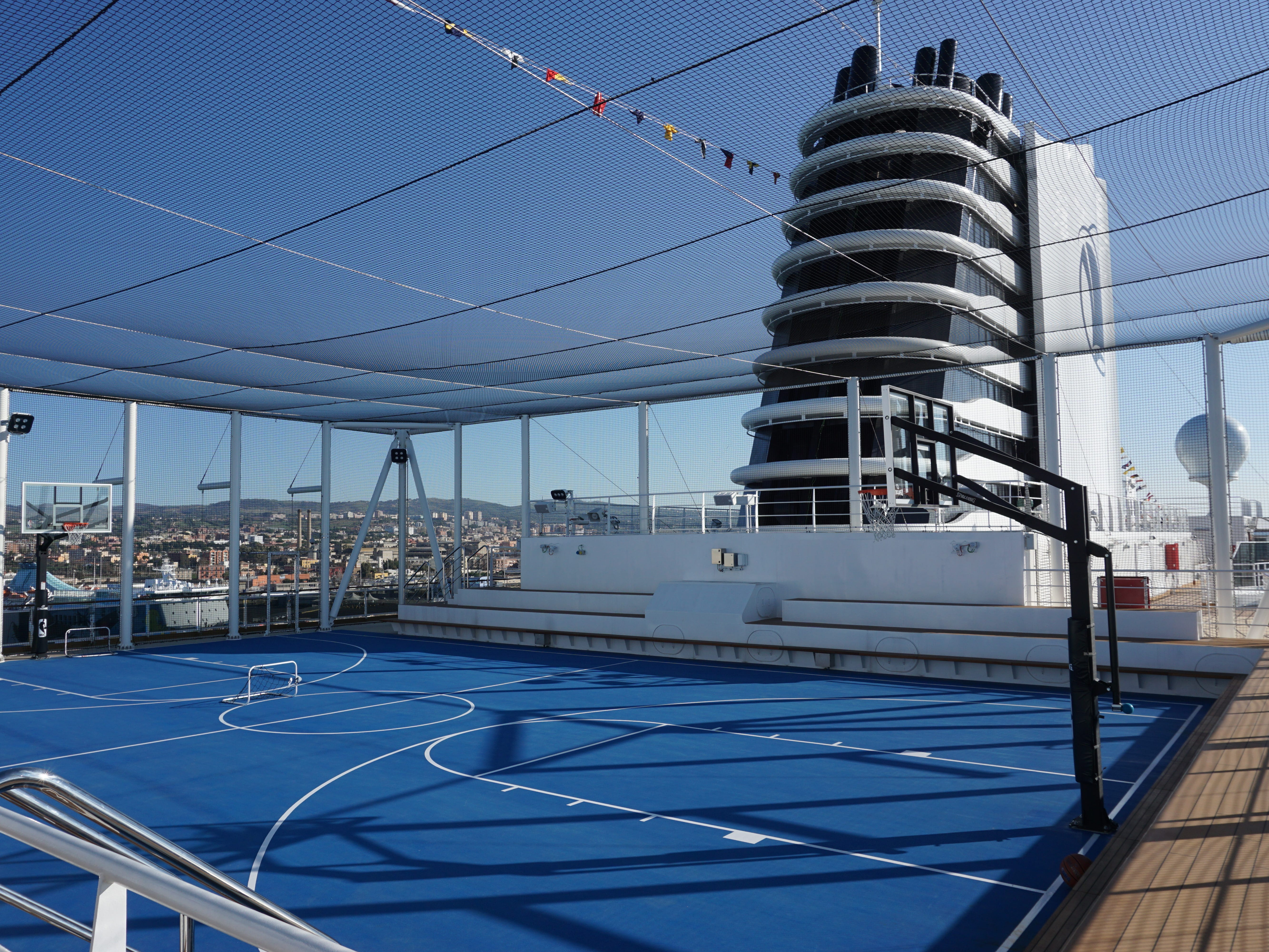 The netted-in Sports Court is located at the base of the Nieuw Statendam's imposing funnel on Deck 11.