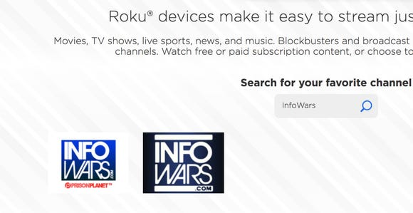 Banned InfoWars channel now available on Roku