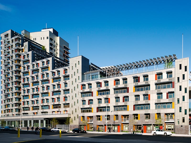 Via Verde, New York City: A design competition showed that aesthetics and healthy living can be prioritized in affordable housing designs. Via Verde, located in the South Bronx, features rooftop gardens and solar panels to provide sustainable (and attractive) design for its residents.