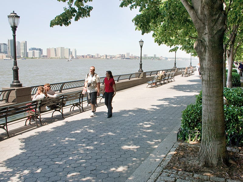 Battery Park City, New York City: Ninety-two acres of landfill became Battery Park City, a planned community containing residences and green spaces with views of the Hudson River. An esplanade lets visitors travel through the neighborhood, where they can enjoy a serene space within the city.