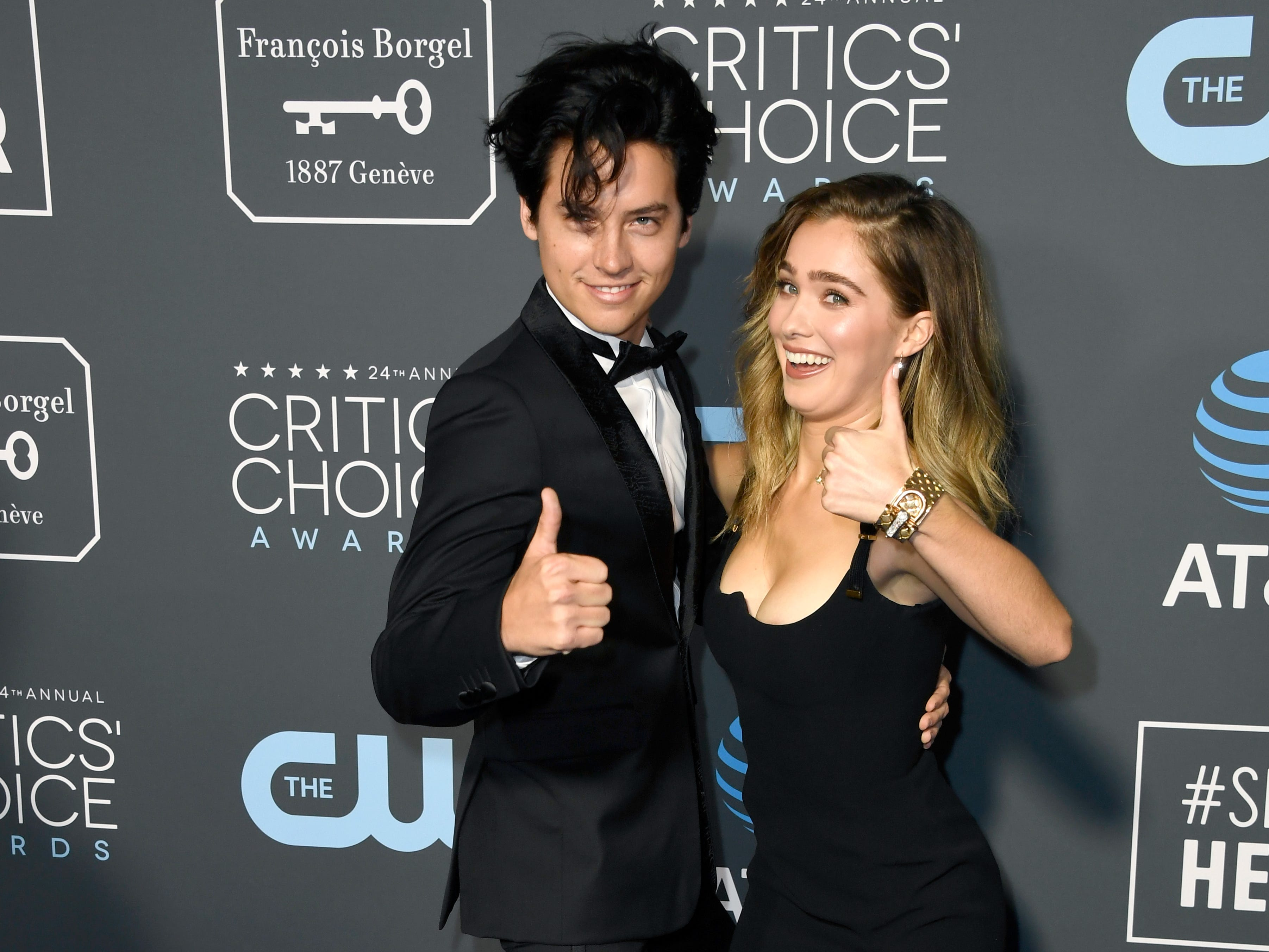 SANTA MONICA, CA - JANUARY 13:  Cole Sprouse (L) and Haley Lu Richardson attend the 24th annual Critics' Choice Awards at Barker Hangar on January 13, 2019 in Santa Monica, California.  (Photo by Frazer Harrison/Getty Images) ORG XMIT: 775260317 ORIG FILE ID: 1082130448
