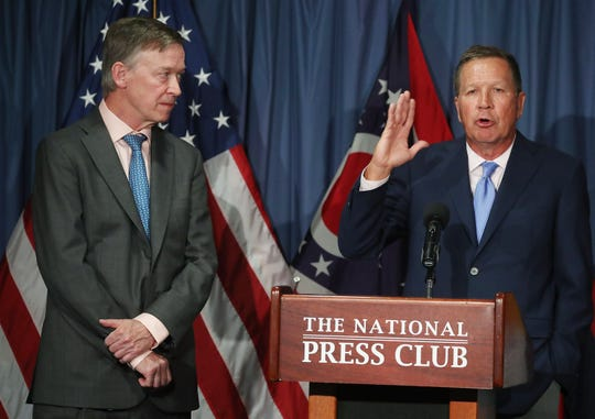 John Kasich and John Hickenlooper at the National Press Club in Washington, DC, June 27, 2017.