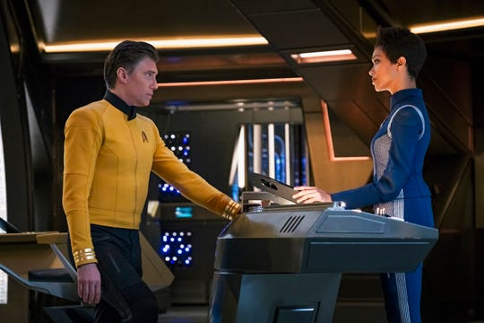 "Anson Mount as Captain Pike and Sonequa Martin-Green as Burnham on ""Star Trek: Discovery."""