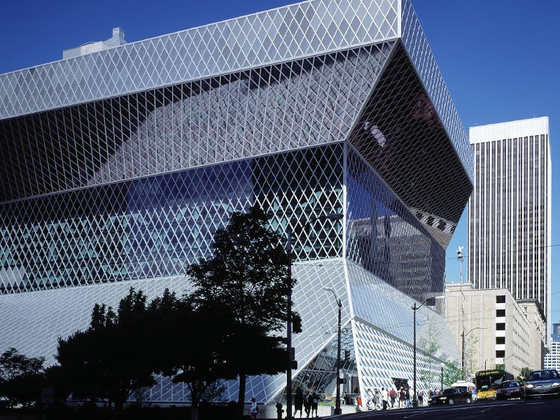 Seattle Central Library: Future-focused both inside and out, Seattle's flagship library isn't afraid to stand out from the crowd. Steel and glass contort themselves around 11 floors of books, film and other media.